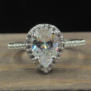 Size 8 Sterling Silver Brilliant Pear CZ Ring